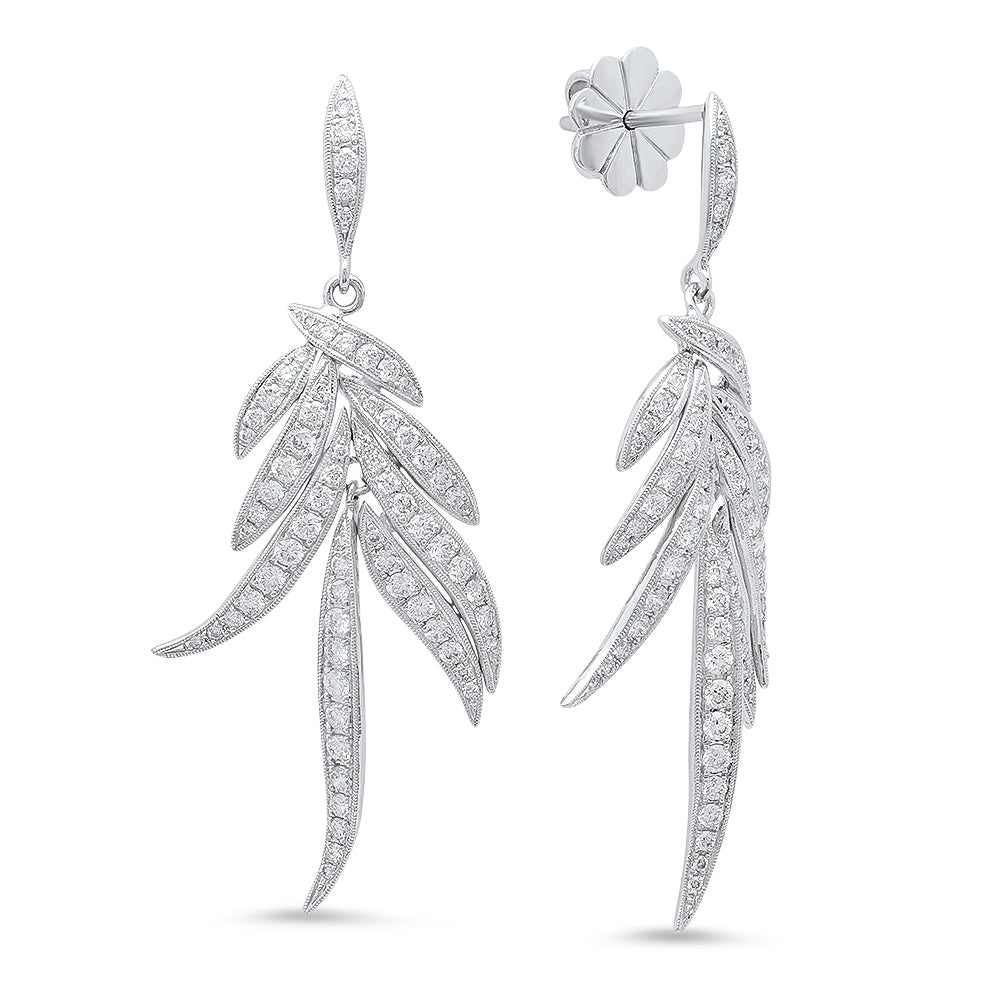 Small Feather Diamond Earrings | Beverley K