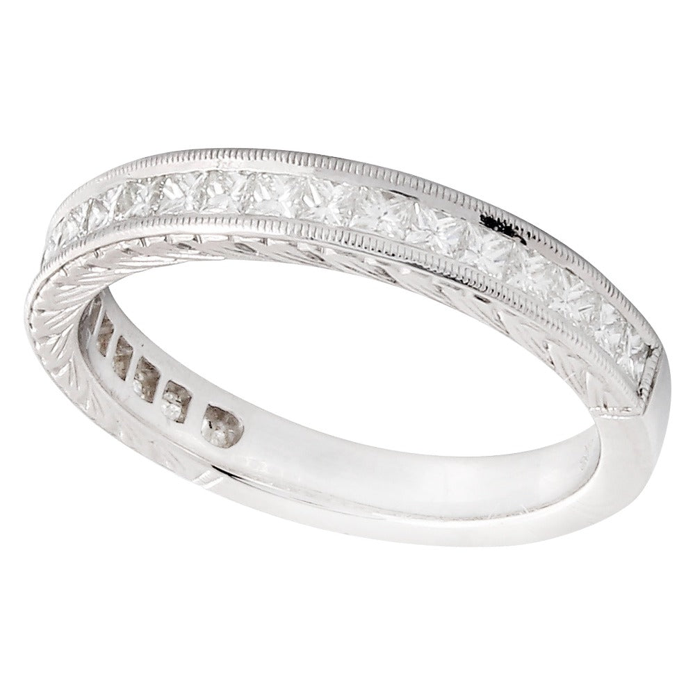 Square Cut Diamond Engraved Band Set Half Way | Beverley K