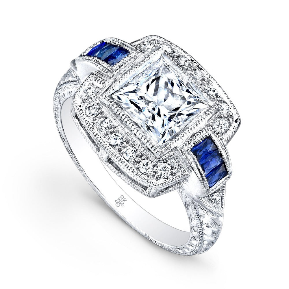 Square Halo Diamond and Sapphire Ring | Beverley K
