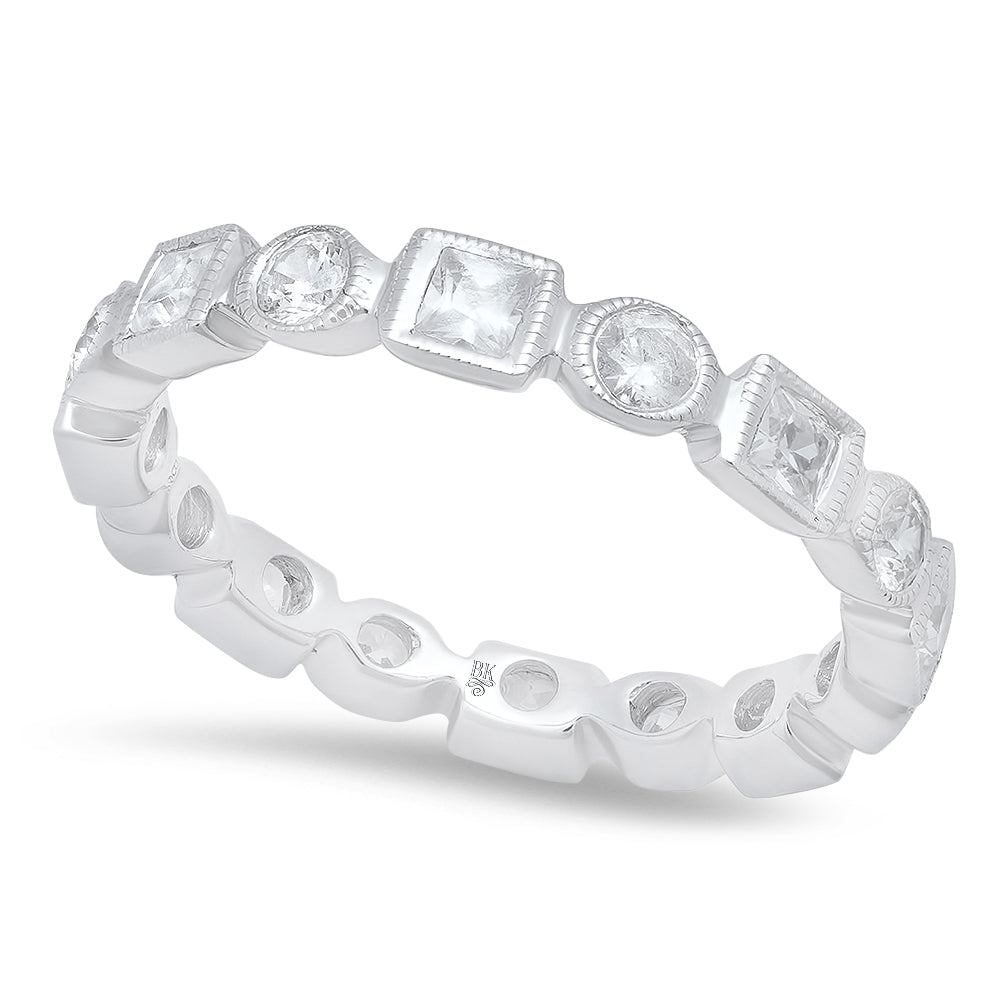 Square and Round Diamond Eternity Band | Beverley K
