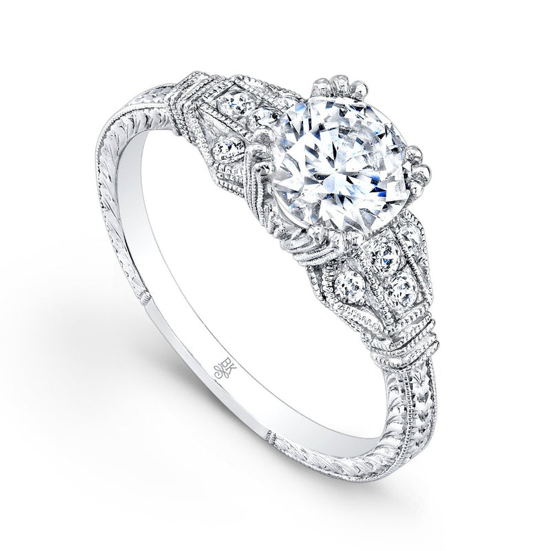 Triple Prong Vintage Engagement Ring Setting | Beverley K