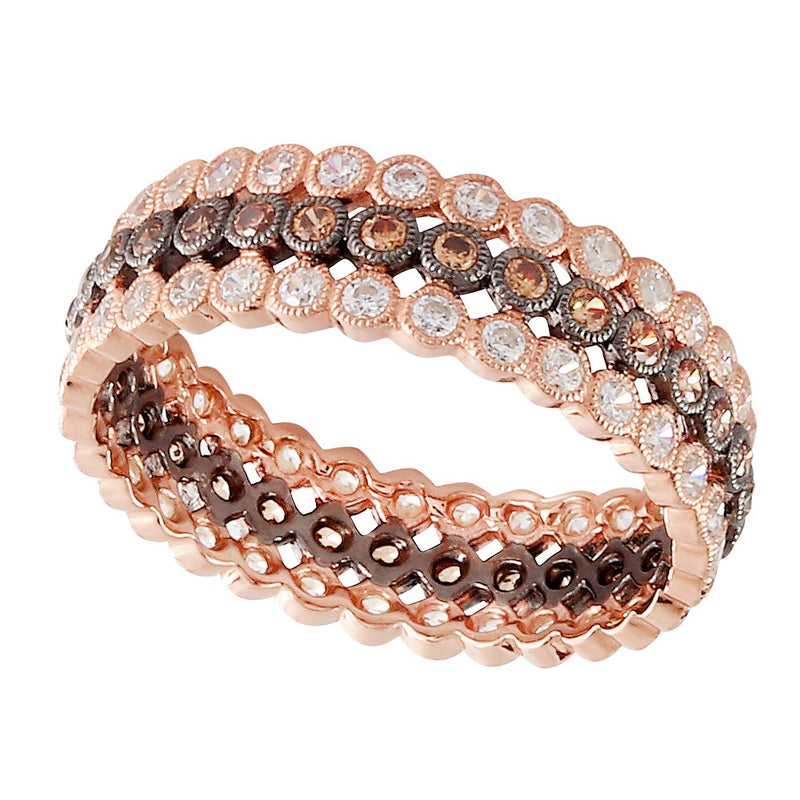 Triple Row Cognac and White Diamond Eternity Band | Beverley K