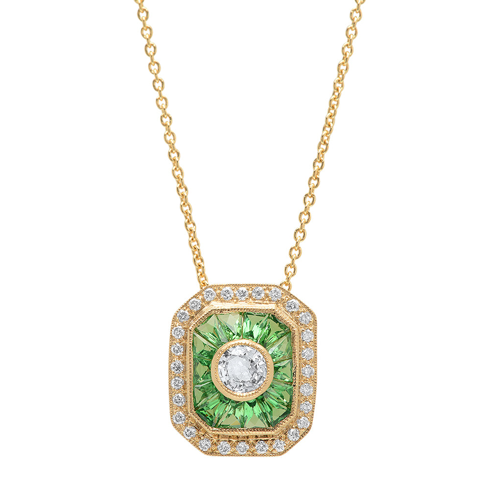 Tsavorite, Diamond and White Sapphire Necklace | Beverley K