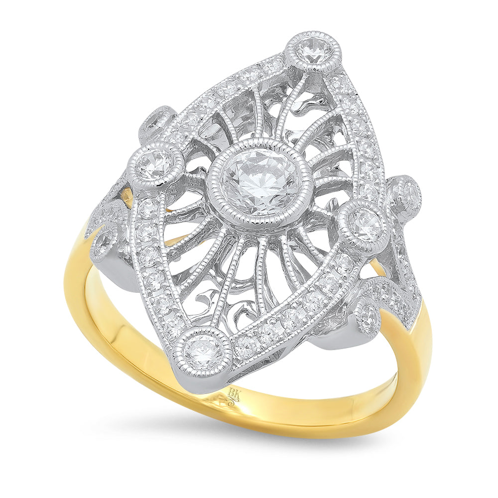 Two-Tone Filigree Diamond Ring | Beverley K