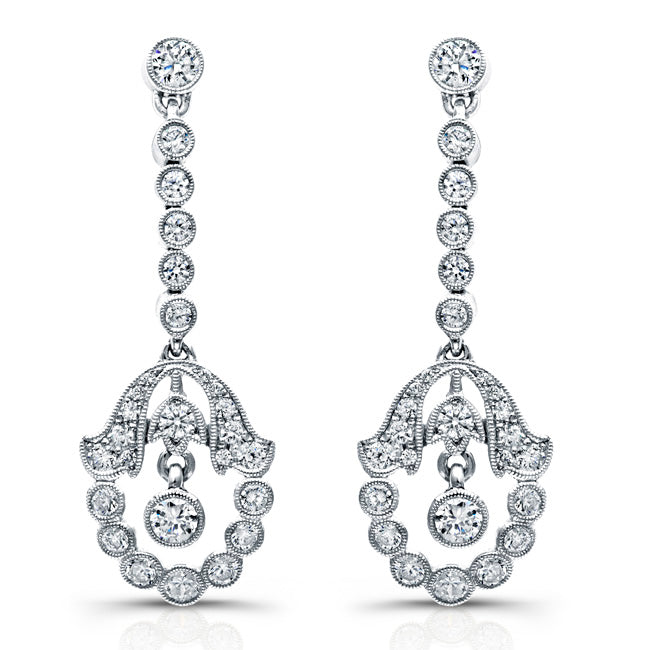 Vintage Style Diamond Drop Earrings | Beverley K