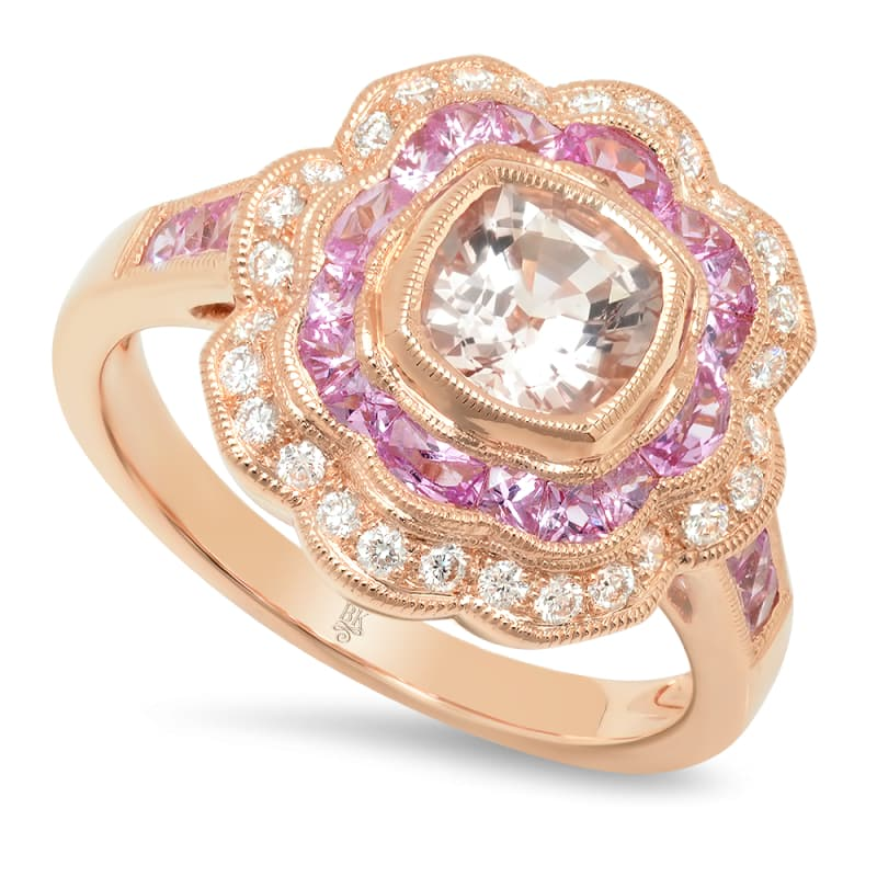Morganite Ring with Diamond and Pink Sapphire | Beverley K