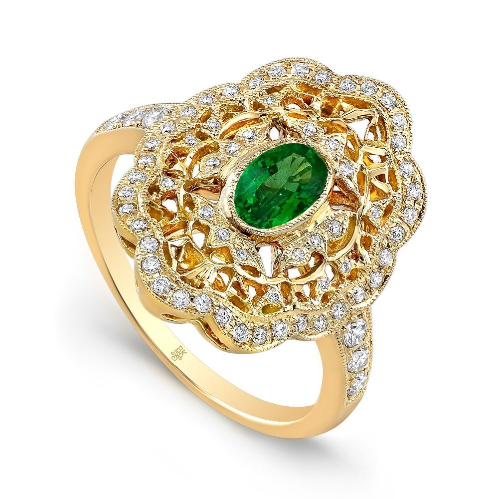 Vintage Style Ring with Oval Tsavorite Center | Beverley K