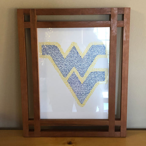 Wood cherry frame with WV art