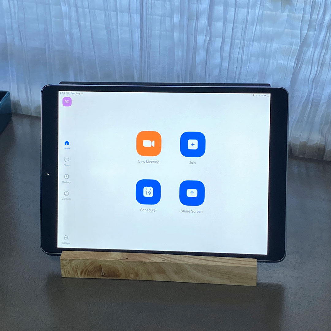 Small unique wood tablet stand with ipad in photo
