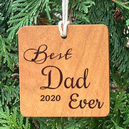 Best Dad Ever Ornament on a pine tree background.