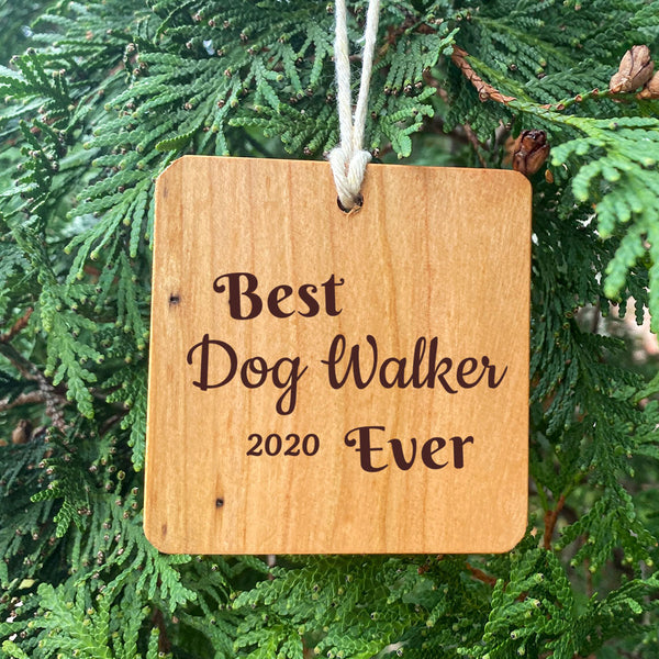 Best Dog Walker Ever Ornament on Pine Tree Background