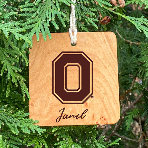 Block O Ornament with script name one
