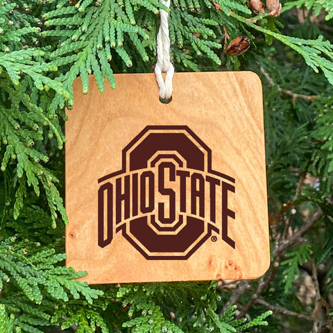 Ohio State sport logo laser engraved on wood ornament