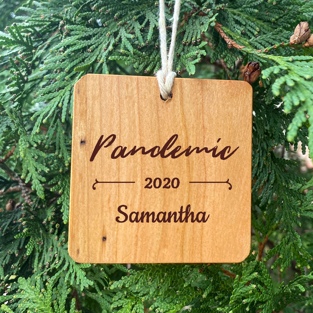 Pandemic 2020 Personalized Ornament on pine tree