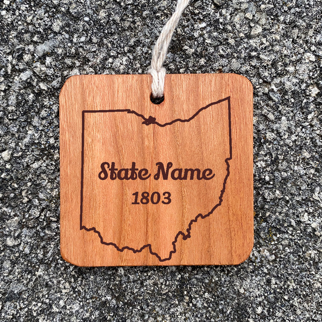 Wood Ornament laser engraved text State Name 1803 state of ohio outline.