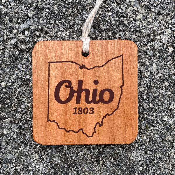 Wood Ornament laser engraved text Ohio 1803 state of ohio outline.