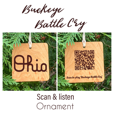 Ohio State Script Ohio Buckeye Battle Cry Song Ornament