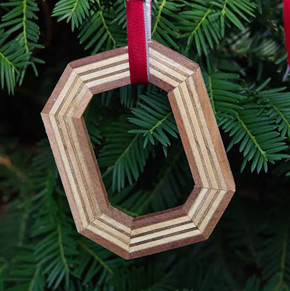 Ohio State Block O Ornament Mixed Hardwood
