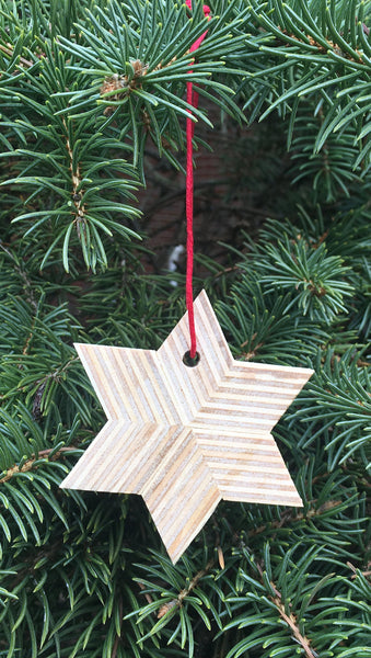 Star Ornament, mixed hardwood