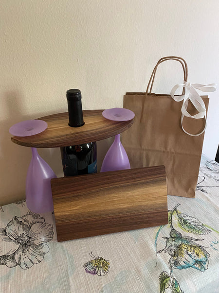 Wine & Glass Display with Coordinating Cheese Board in Walnut