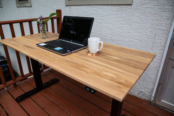 Electronic Adjustable, Sit-Stand Desk with Ash Wood Top
