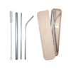 4-in-1 Silver Stainless Steel Drinking Straw Gifts Set
