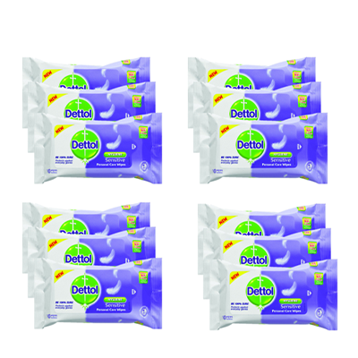 Dettol Sensitive Personal Care Wipes Triple Pack, 12x10pcs