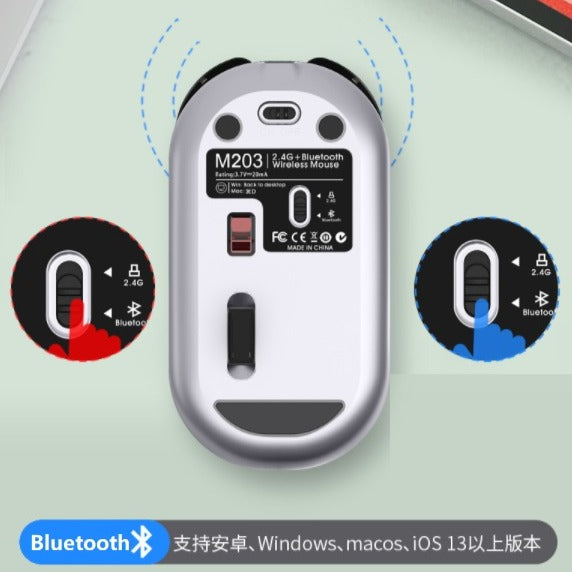 Rechargeable 2.4Ghz Bluetooth 5.0 Wireless Mouse