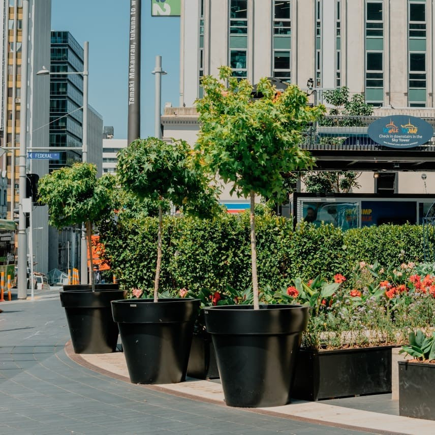 Planters in a public space. Large Black Planters. Ebony Black planter.