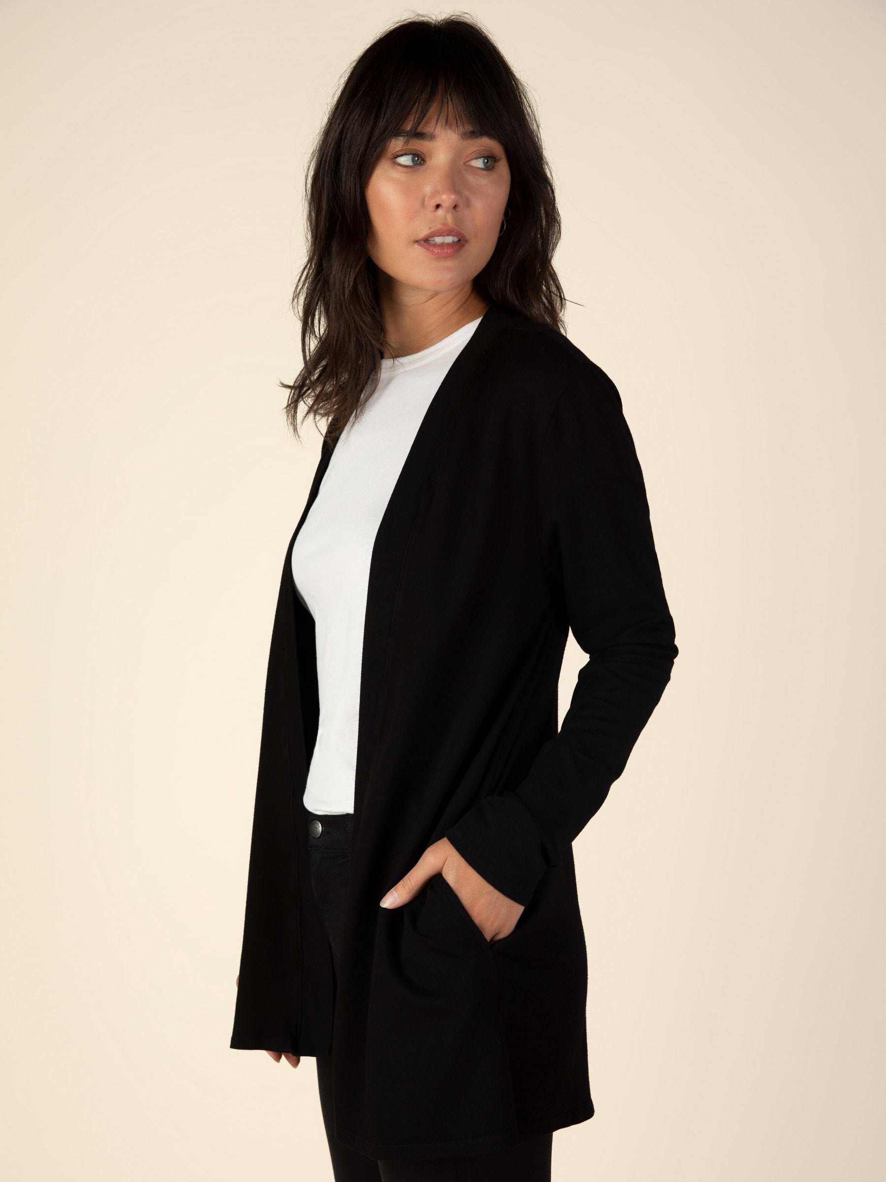 French Terry Cardigan - Black