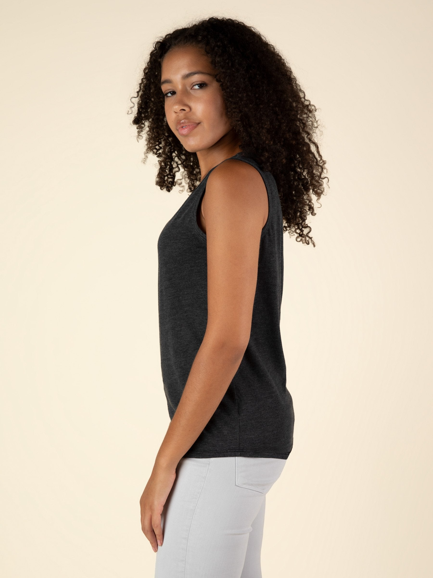 Tank Top Curved Hem Tee - Faded Black