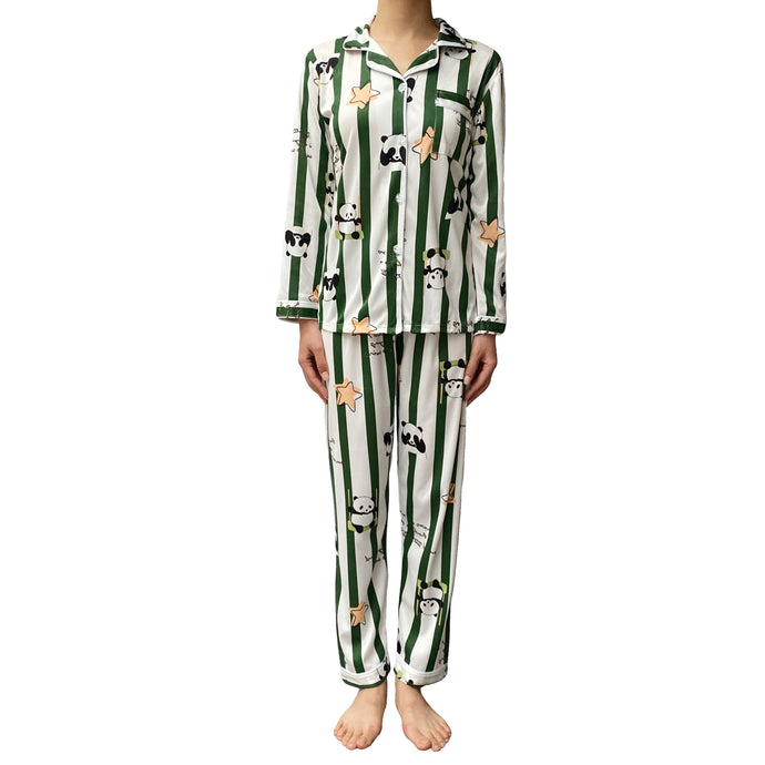 Women Lazy Dolphins playful panda pattern pajamas set