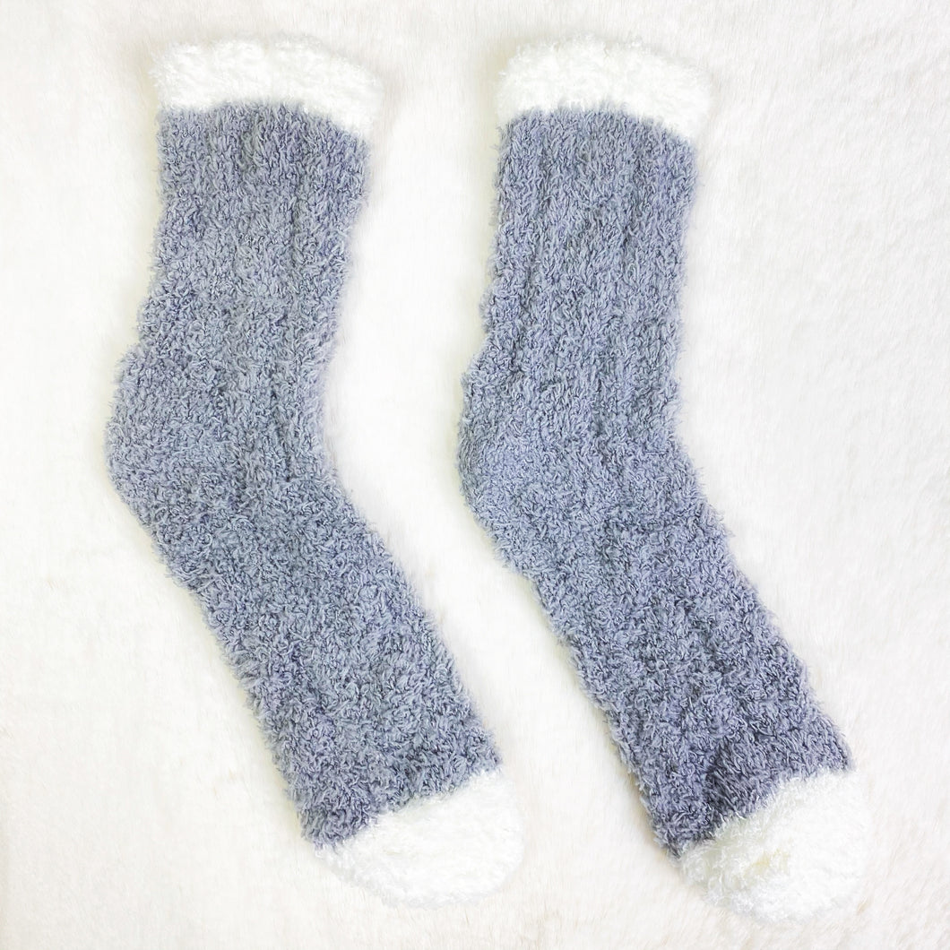 Dark Grey Ribbed Fluffy Socks