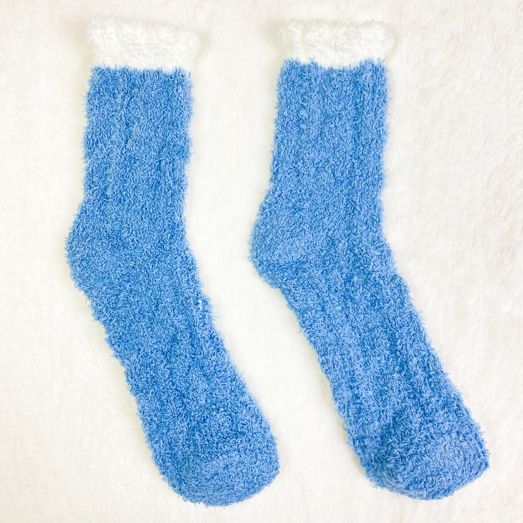 Winter Blue Ribbed Fluffy Socks