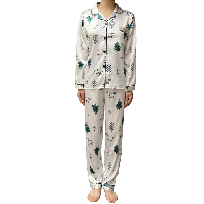 Lazy Dolphins Women Tree pattern silky pajamas set