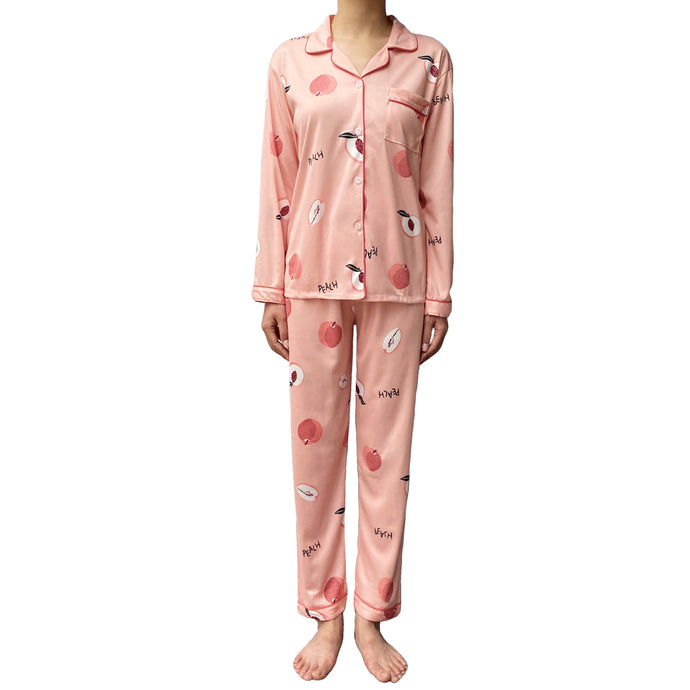 Women Peach Fruit Pink Pajamas Set