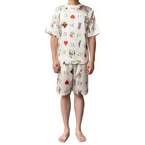 Lazy Dolphins Men Playing Cards short sleeve pajamas set