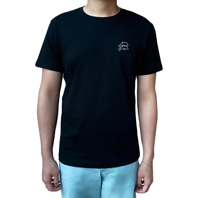 Men Black Lazy Dolphins T-Shirt with embroidered branding logo
