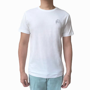 Slim fit white minimalist shirt with two dolphins