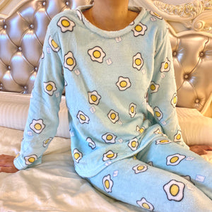 Blue Pajamas with egg pattern