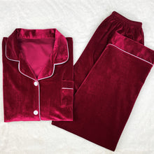 Load image into Gallery viewer, Classic Wine Red Velvet PJ Set (Men)