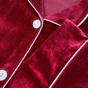 Classic Wine Red Velvet PJ Set (Women)