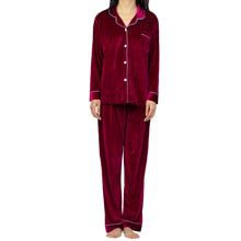 Load image into Gallery viewer, Classic Wine Red Velvet PJ Set (Women)
