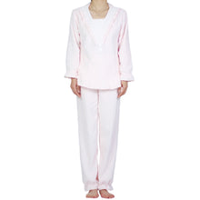 Load image into Gallery viewer, V-Lace Flannel PJ Set (Pink Cloud)