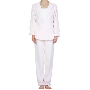 V-Lace Flannel PJ Set (Pink Cloud)