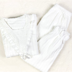 V-Lace Flannel PJ Set (White)
