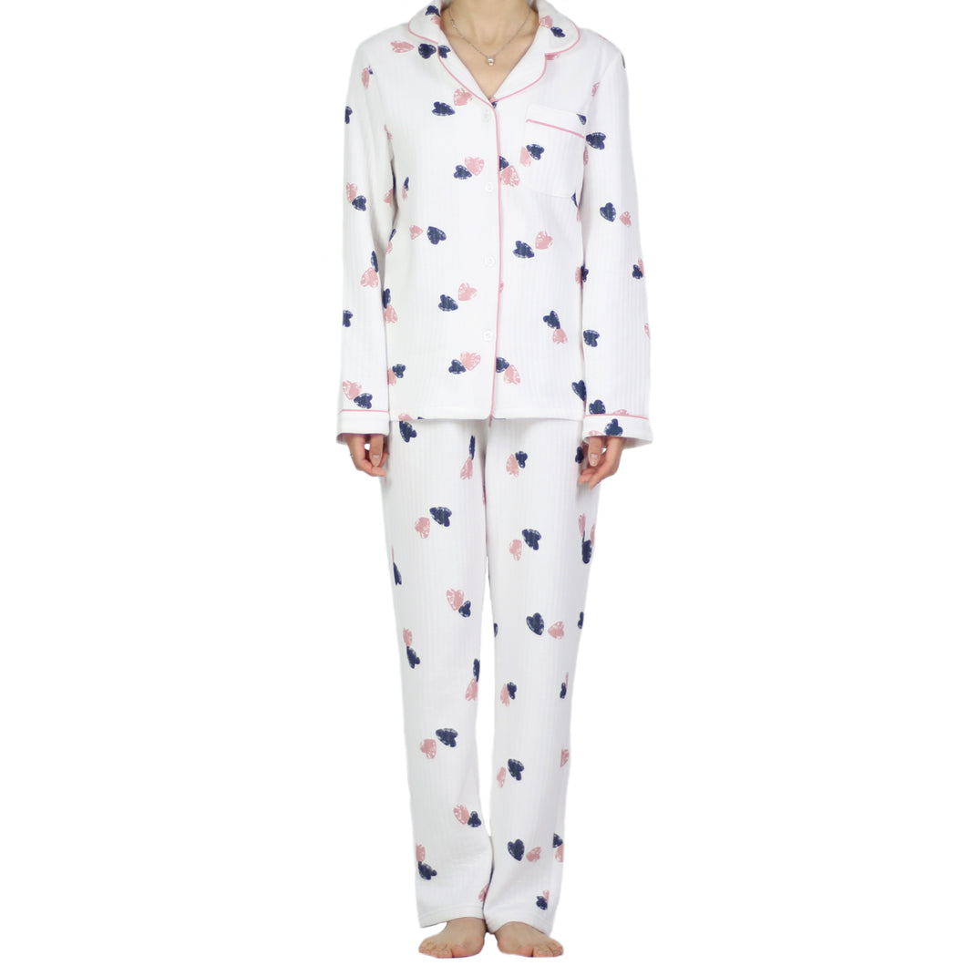 Winter Heart Quilt PJ Set White