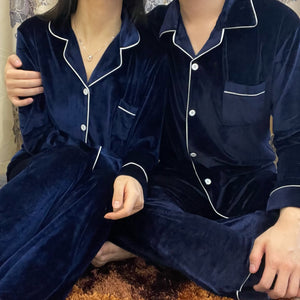 Classic Midnight Blue Velvet PJ Set (Men)