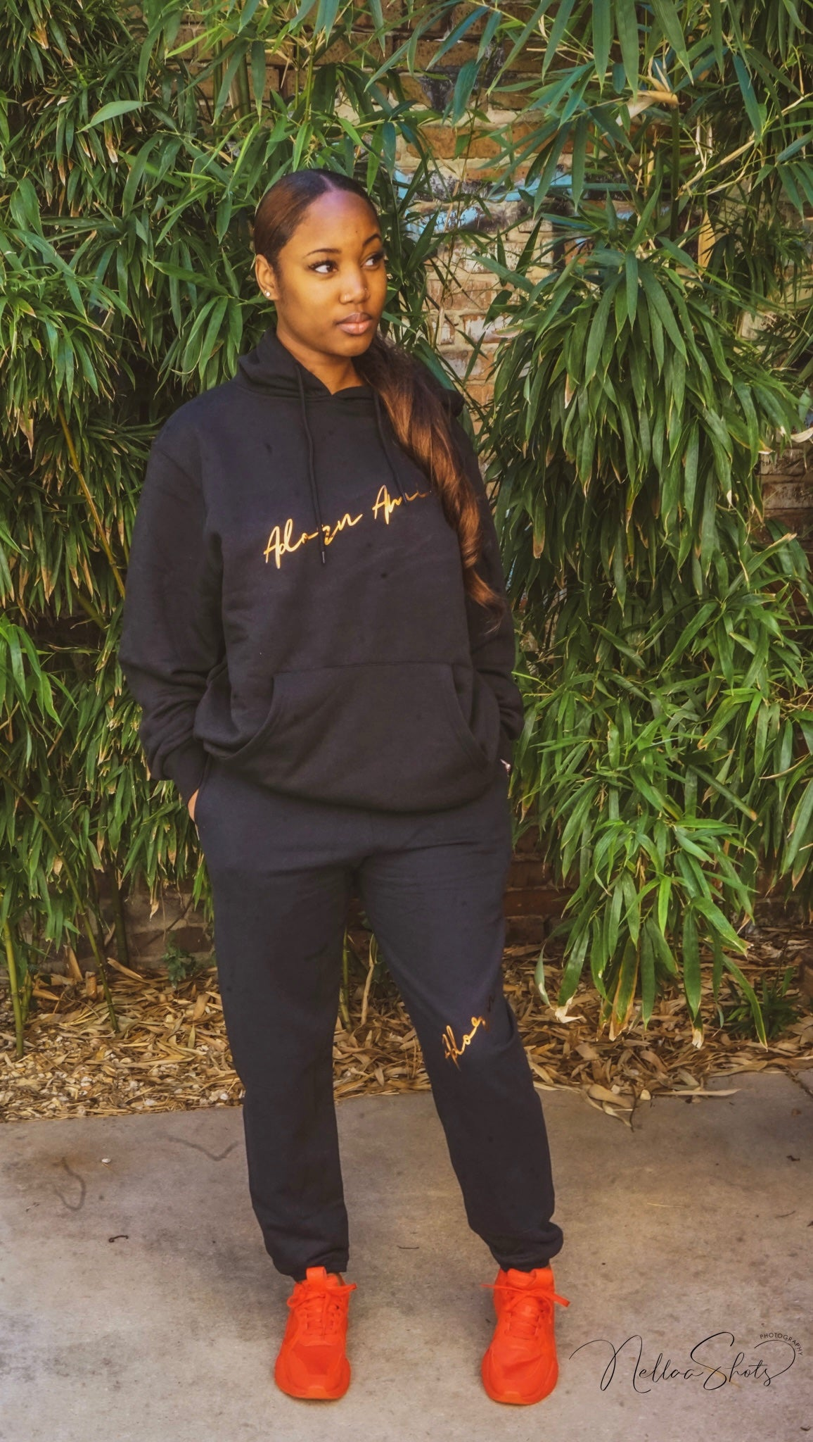 ADORN AMI-NOIR & GOLD SLANT SWEATSUIT (SOLD SEPARATELY - NOT AS A SET)