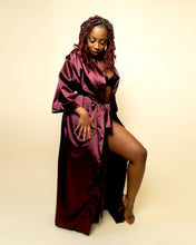 Load image into Gallery viewer, Valentina Long Satin Robe - Wine
